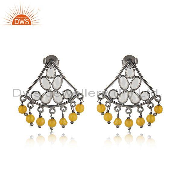 Traditional design yellow chlacedony, cz silver earring in black rhodium