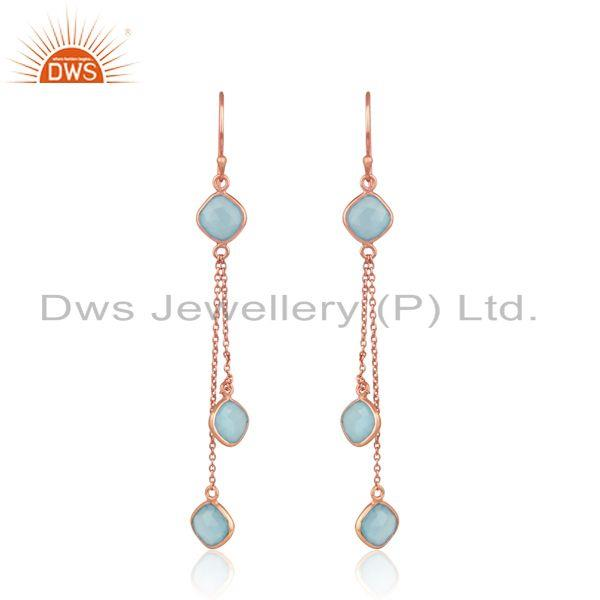Handcrafted long chain silver 925 dangle with aqua chalcedony