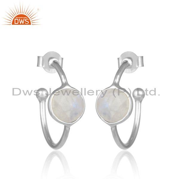 Rainbow Moon Stone Set Fine 925 Silver Open Hoop Earrings