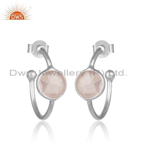 Rose Quartz Set Fine 925 Sterling Silver Open Hoop Earrings