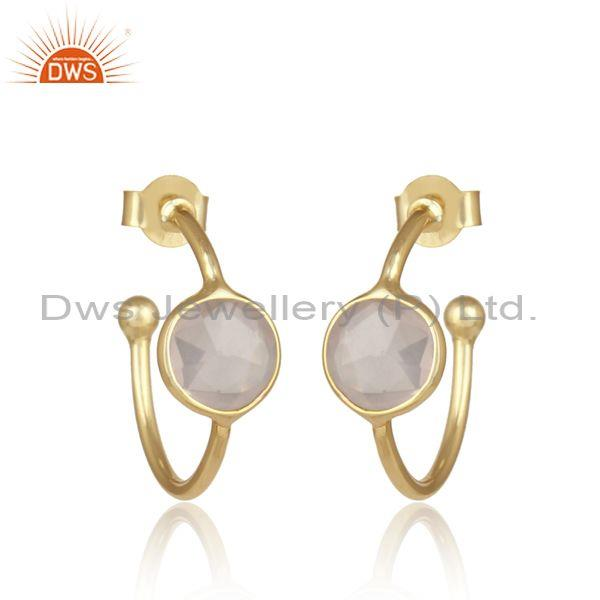 Rose Quartz Set Gold On Sterling Silver Open Hoop Earrings