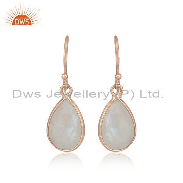 Pear Shaped Rose Quartz Set Rose Plated 925 Silver Earrings