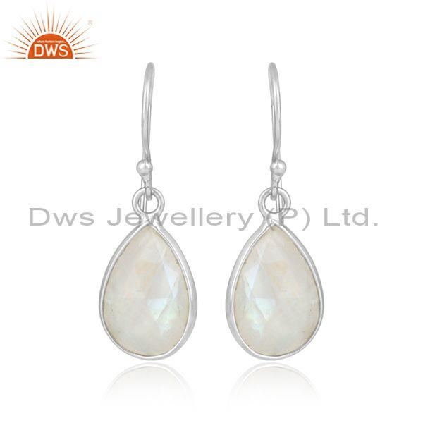 Pear Shaped Rainbow Moon Stone Set Fine 925 Silver Earrings
