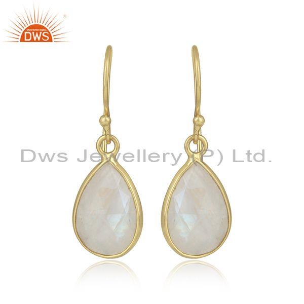 Pear Shaped Rainbow Moon Stone Set Gold On Silver Earrings