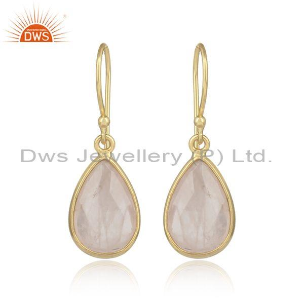 Pear Shaped Rose Quartz Set Gold On Sterling Silver Earrings