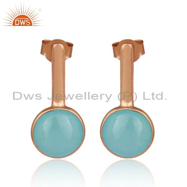 Round aqua chalcedony set rose gold on 925 silver earrings