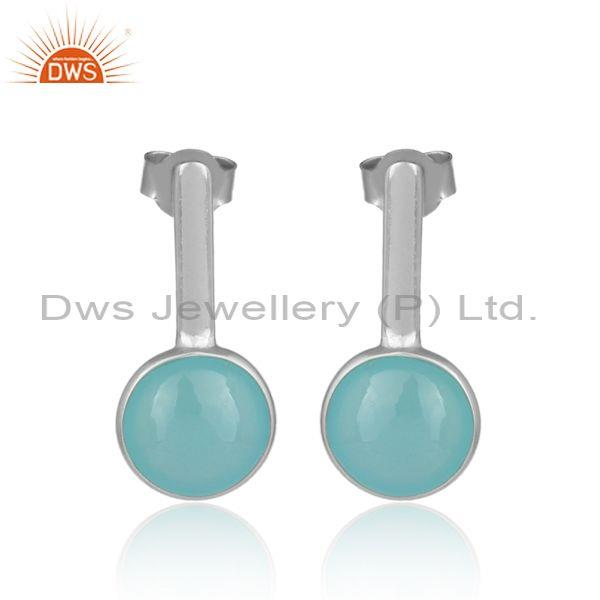 Round aqua chalcedony set white rhodium on silver earrings