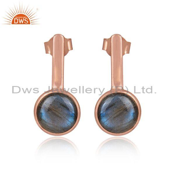 Labradorite set rose gold on 925 sterling silver earrings