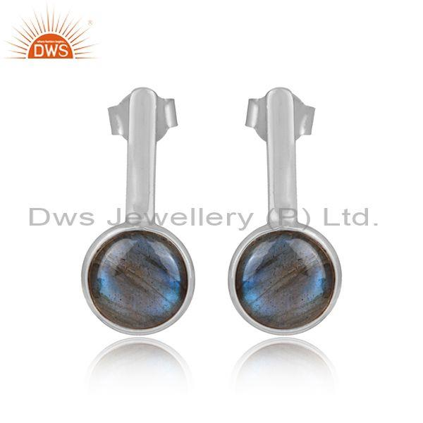 Round labradorite set white rhodium on 925 silver earrings
