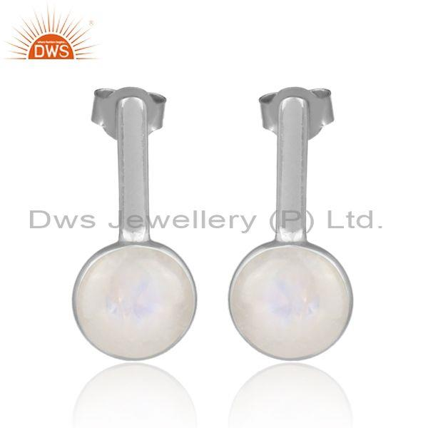 Rainbow Moon Stone White Rhodium On 925 Silver Earrings