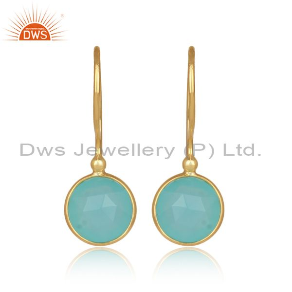 Round aqua chalcedony set gold on silver earwire earrings