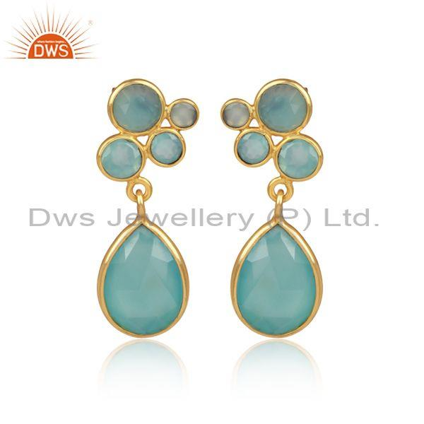 Aqua Chalcedony Set Tear Drop Shaped Brass Gold Earrings