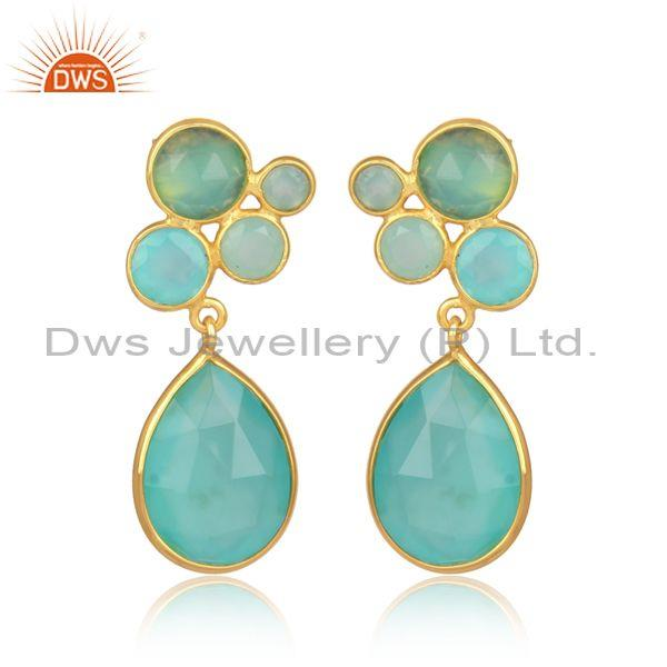 Aqua chalcedony gold on silver designer statement earrings
