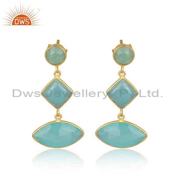 Aqua chalcedony set gold on 925 silver statement earrings