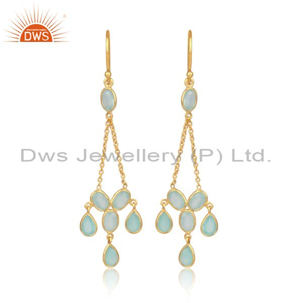 Aqua Chalcedony Set Gold On Silver Triangle Drop Earrings