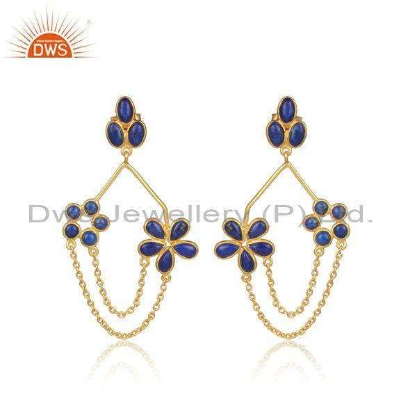 Lapis set gold on 925 silver floral statement chain earrings