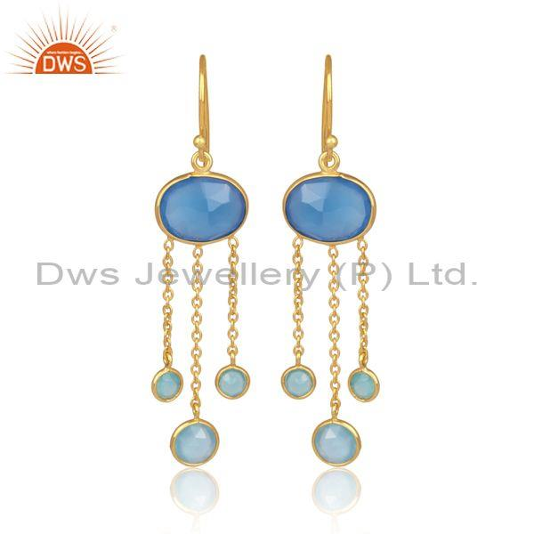 Blue chalcedony set gold on silver fancy earwire earrings