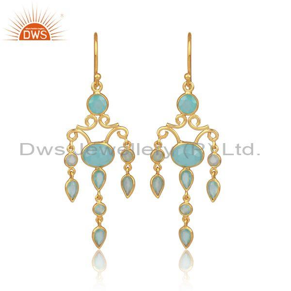 Aqua Chalcedony Set Gold On 925 Silver Chandelier Earrings