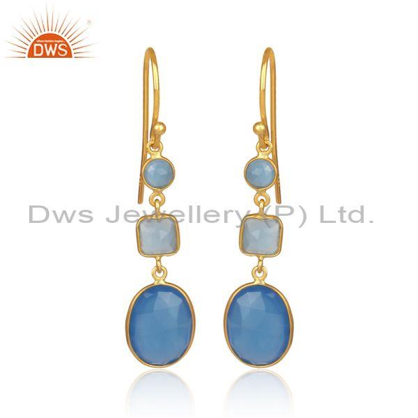 Blue chalcedony set gold on 925 silver casual drop earrings