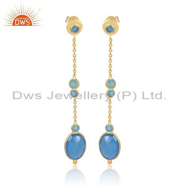 Blue Chalcedony Set Gold On 925 Silver Thread Wire Earrings