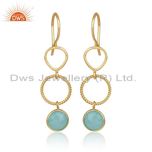 Aqua Chalcedony Set Gold On 925 Silver Round Long Earrings