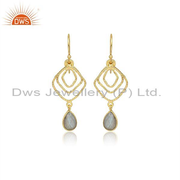 Pear Cut Labradorite Set Gold On 925 Silver Earwire Earrings