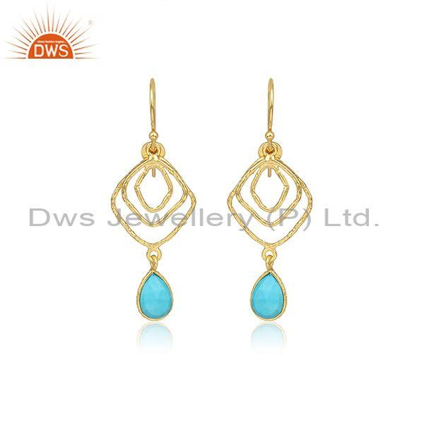 Pear Cut Turquoise Set Gold On 925 Silver Earwire Earrings