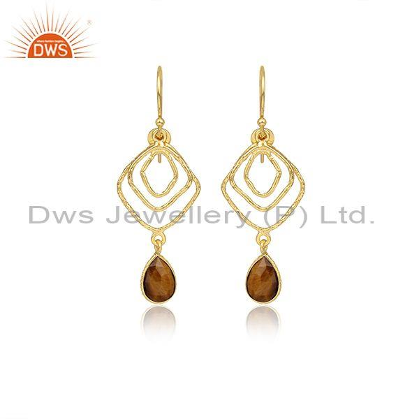 Pear Cut Tiger Eye Set Gold On 925 Silver Earwire Earrings