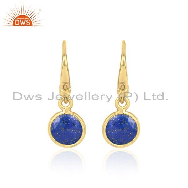 Round Cut Lapis Set Gold On 925 Silver Statement Earrings