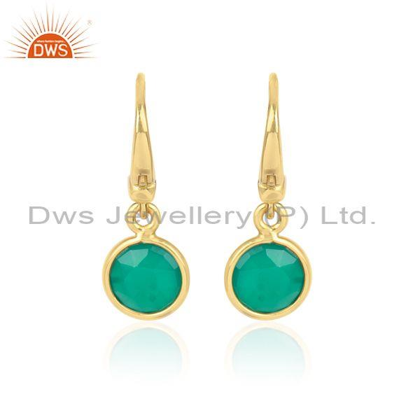 Round Cut Green Onyx Set Gold On Silver Statement Earrings