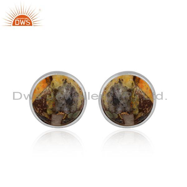 Round Mojave Copper Bumblebee Turquoise Fine Silver Earrings