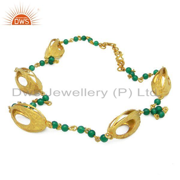 18K Gold Plated Sterling Silver Green Onyx Gemstone Beaded Necklace