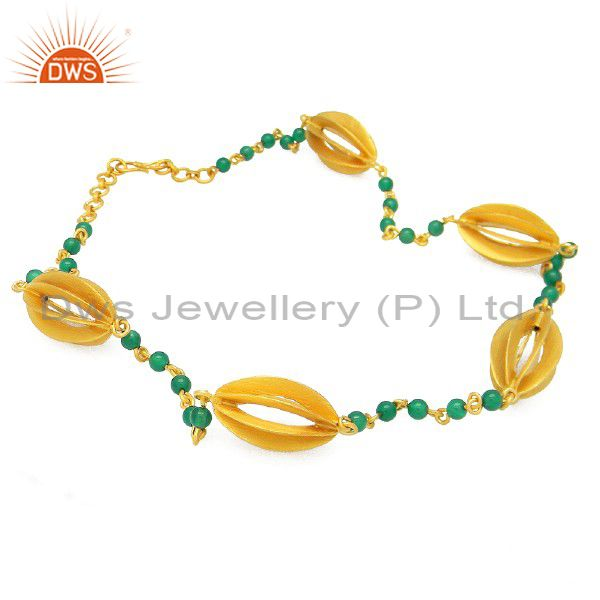 18K Yellow Gold Plated Sterling Silver Green Onyx Designer Necklace