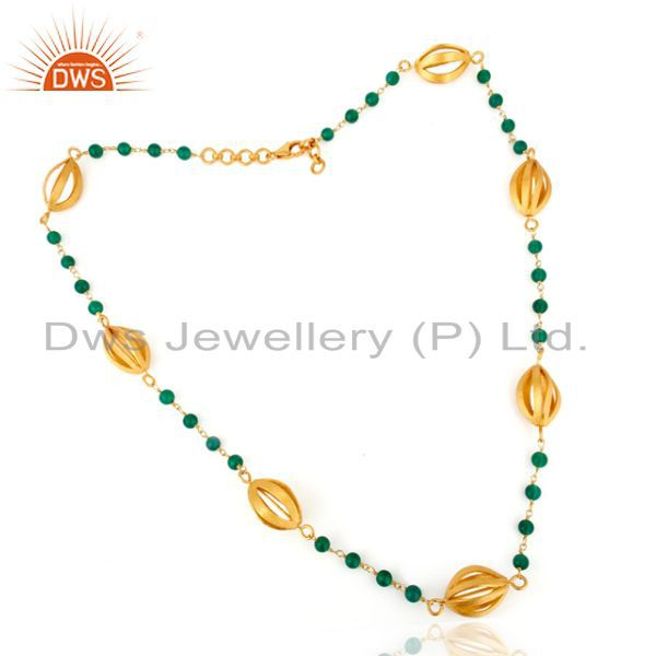 Artisan Crafted Gold Plated Green Onyx Beaded Sterling Silver Chain Necklace