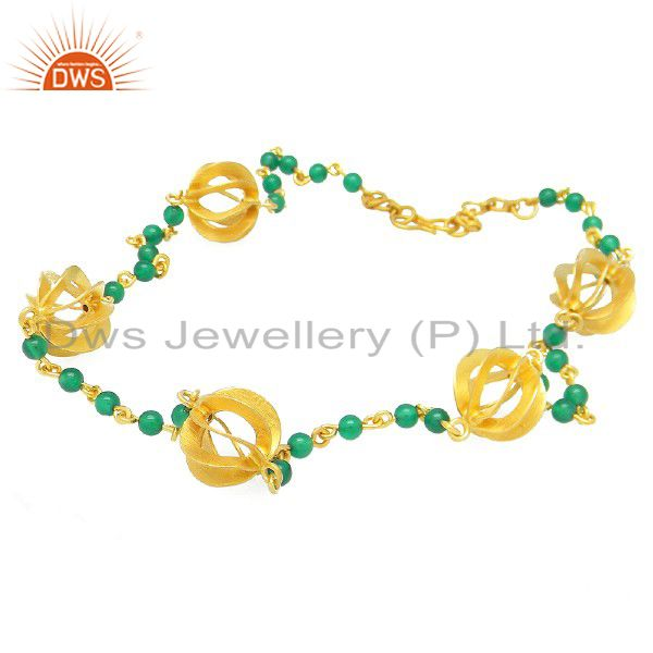 18K Yellow Gold Plated Sterling Silver Green Onyx Gemstone Beaded Necklace