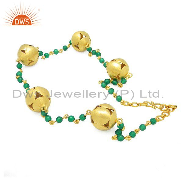 18K Gold Plated Sterling Silver Natural Green Onyx Beaded Necklace