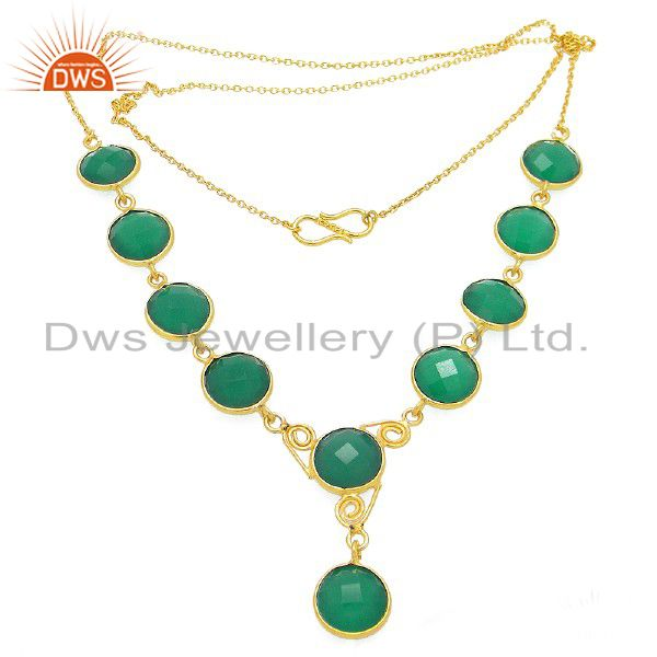 18K Yellow Gold Plated Sterling Silver Green Onyx Gemstone Bezel Set Necklace