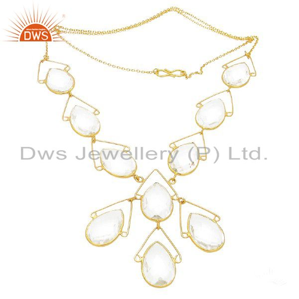18K Yellow Gold Plated Sterling Silver Crystal Quartz Gemstone Bib Necklace