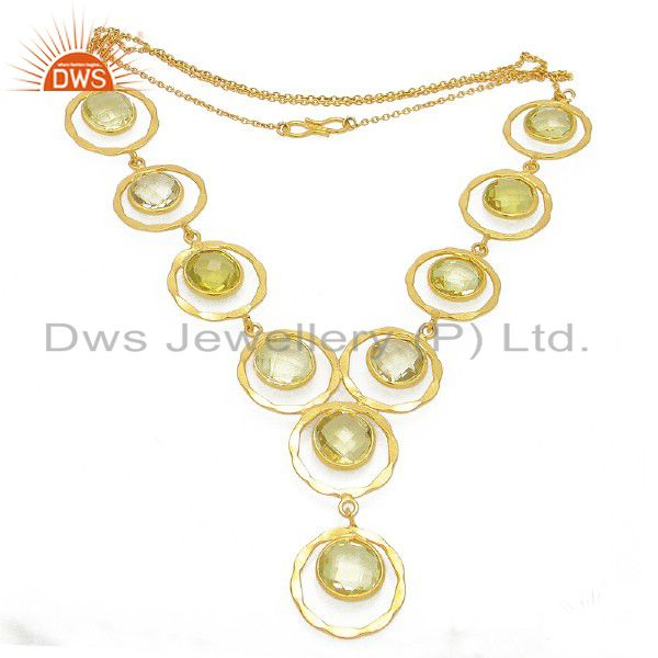 18K Yellow Gold Plated Sterling Silver Lemon Topaz Gemstone Bib Necklace