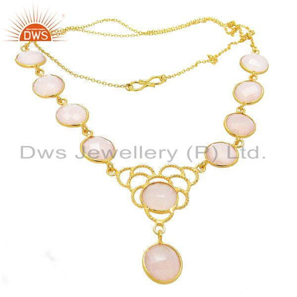 18K Gold Plated Sterling Silver Bezel Set Rose Chalcedony Bezel Set Necklace