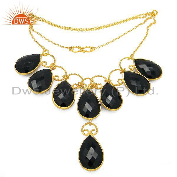 Handmade Beautiful 18ct Gold Plated Over Sterling Silver Onyx Gemstone Necklace