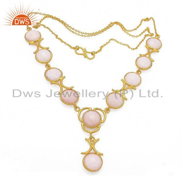 18K Yellow Gold Plated Sterling Silver Pink Opal Gemstone Bib Necklace