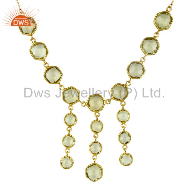18K Yellow Gold Plated 925 Sterling Silver Lemon Topaz Bezel Set Necklace