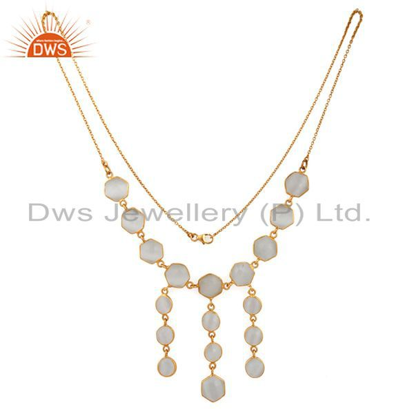 Natural moonstone gemstone necklace in 18k gold over sterling silver jewelry