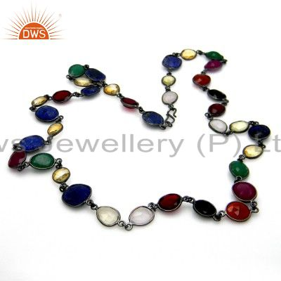 Oxidized Sterling Silver Multi Colored Gemstone Bezel Set Chain Necklace