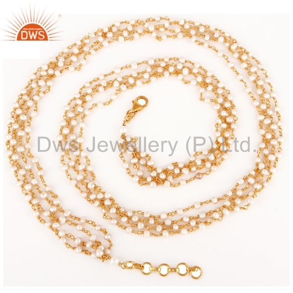 18k gold plated sterling silver natural pearl beaded link chain necklace