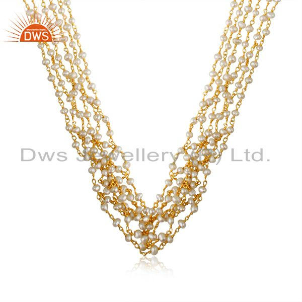 18K Gold Plated Sterling Silver Natural Pearl Beaded Multi Layered Necklace