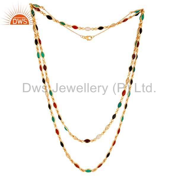 14K Gold Over Sterling Silver Multi-Colored Gemstones Double Layers Necklace 16""