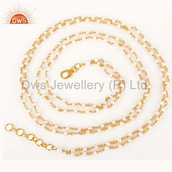 14K Gold Plated Sterling Silver Pearl Beaded Double Strand Necklace