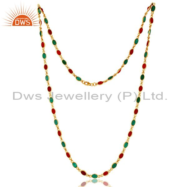 14K Yellow Gold Plated Sterling Silver Green Onyx And Red Onyx Chain Necklace